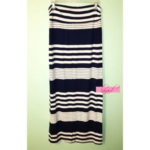 Dresses & Skirts - Navy Dark Blue White Striped Ruched Long Maxi L